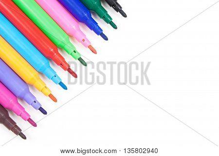 Color Soft-tip Pen On White Background
