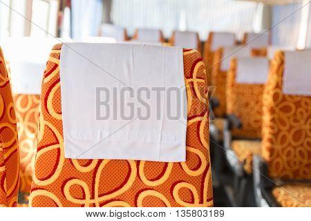Orange Fabric Vehicle Seat On Bus