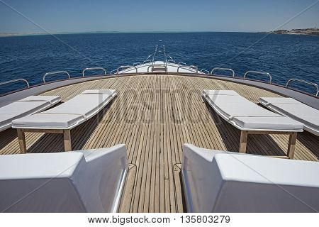 View Over The Bow Over A Large Luxury Motor Yacht