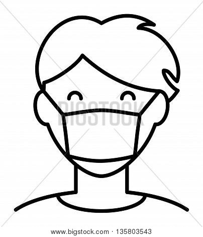 Simple isolated icon of a person in hygiene face mask not willing to spread a virus