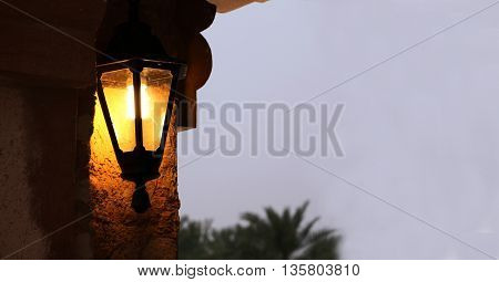 Traditional Lantern from arab heritage in evening