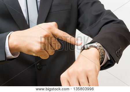 I Waiting For You, Young Business Man Looking At Watch