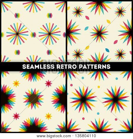 Retro multiplied style seamless patterns with stars collection
