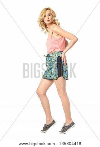 Beauty Blonde Woman In Short Shorts Isolated On White