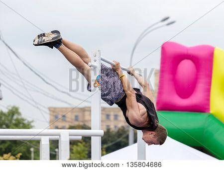 Kharkiv Ukraine - June 11 2016: Man performs a trick