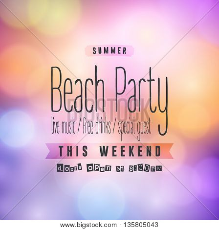 Summer Beach Party Flyer. Vector Design EPS 10