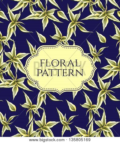 Card with seamless floral pattern. Vintage background.