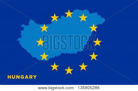 Flag of European Union with Hungary on background. Vector EU flag