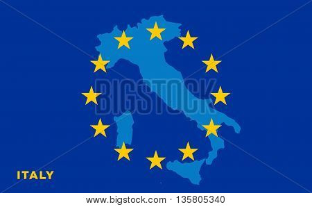 Flag of European Union with Italy on background. Vector EU flag