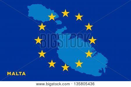 Flag of European Union with Malta on background. Vector EU flag