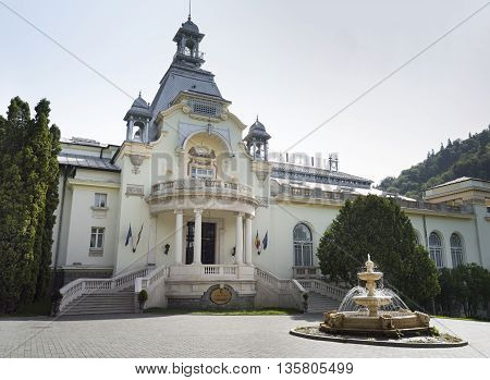 Sinaia, ROMANIA - June 18 2016: Facade View Of The Sinaia Casino, which was built at the initiative of King Carol I of Romania. SINAIA - June 18 2016