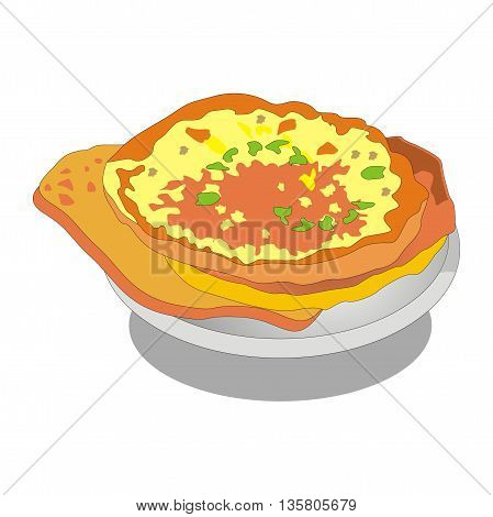 Illustration traditional georgian bread cheese filled khachapuri