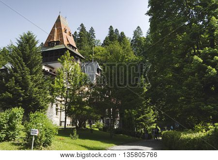 Sinaia, ROMANIA - June 18 2016: View of Pelisor Castle from the Romanian city of Sinaia. SINAIA - June 18 2016