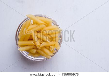 Penne In Glass Bowl