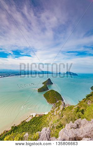 Aerial view small islands in the ocean, natural landscape background