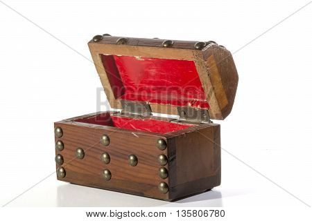 Wooden chest image on isolated white background.