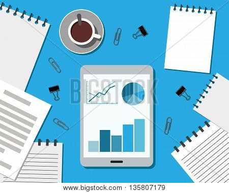 Flat Style Modern Design of Office Workplace. Working or studying concept. Top view. Vector Illustration