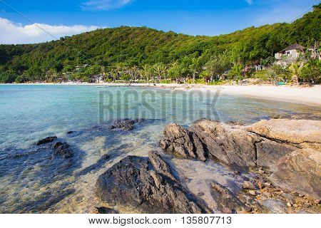 Rocky on the beach over seacoast with mountain background