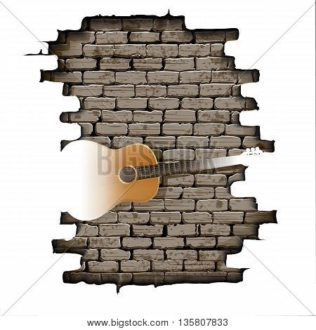 Vector illustration of a guitar in the opening of a brick wall with a white background. Isolated object can be used with any image or text.