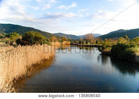 Fantastic river and mountain landscape image. No people