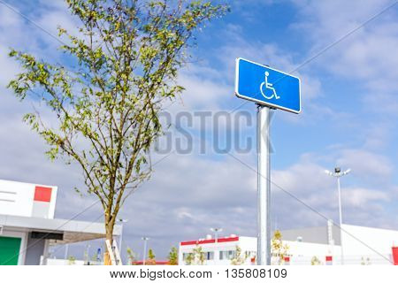 Blue rectangle traffic sign for the disabled people handicapped sign with wheelchair