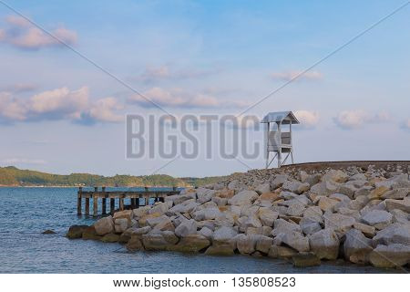 White Lifeguard over seacoast, natural landscape background