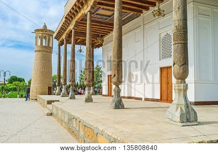 The Khakim Kushbegi Mosque of Bahauddin Nakshbandi complex is the fine example of the medieval architecture of the Middle East Bukhara Uzbekistan.