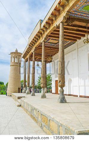 The Khakim Kushbegi Mosque is the notable landmark in Bahauddin Nakshbandi complex Bukhara Uzbekistan.
