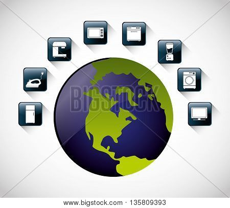 Internet of things represented by icon set of appliances and planet. isolated and flat background