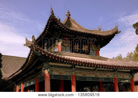 Xi'an China - September 9 2006: Colourful pavilion with painted woodwork Chinese characters and flying eaves at the Bei Lin Museum