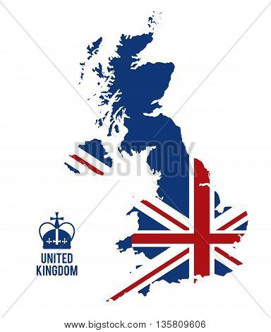 United kingdom concept represented by map and flag icon. Colorfull and flat illustration