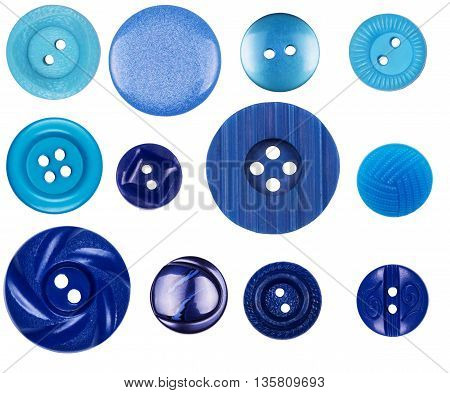 Different blue buttons on white background white