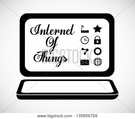 Internet of things represented by icon set of multimedia apps and laptop. isolated and flat background