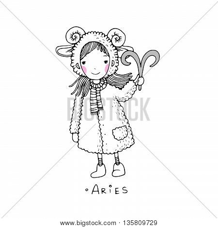 Aries. A cute little girl in a fur coat. Hand drawing isolated objects on white background. Vector illustration.