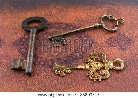 Key near the Holy Quran on a white background