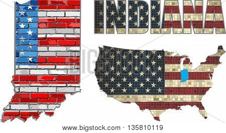 USA state of Indiana on a brick wall - Illustration, Indiana Flag painted on brick wall, Font with the United States flag,  Indiana map on a brick wall
