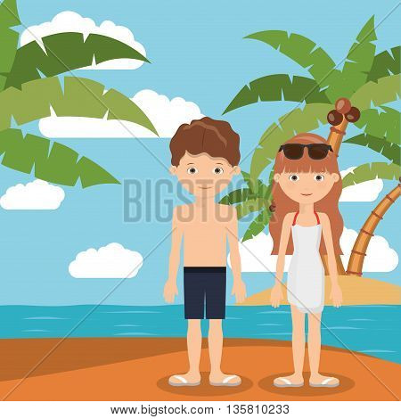 summer vacations in family design, vector illustration eps10 graphic