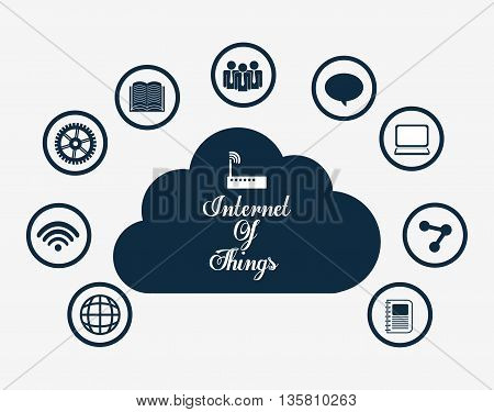 Internet of things represented by icon set of multimedia apps. isolated and flat background