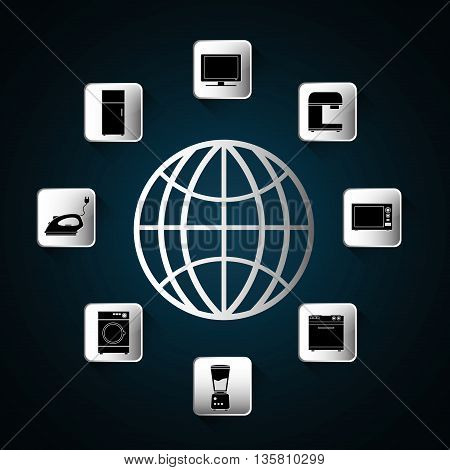 Internet of things represented by icon set of appliances and global icon. Blue and flat background