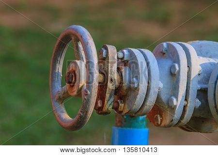Water valve and steel pipe in garden