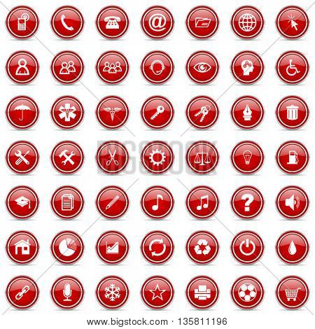 Vector modern design business red cicrle glossy web icons set