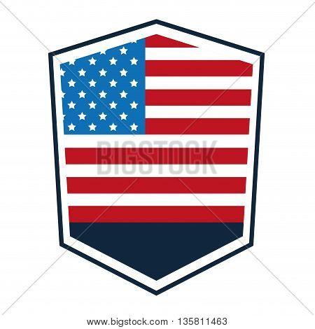 flat design united states flag crest vector illustration