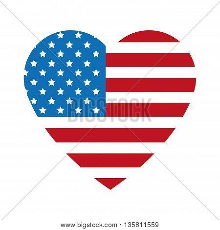 flat design united states flag heart shape badge vector illustration