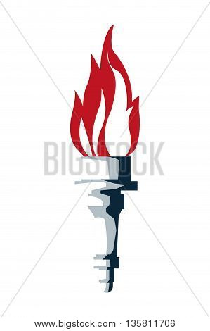 flat design blue torch with red flame vector illustration