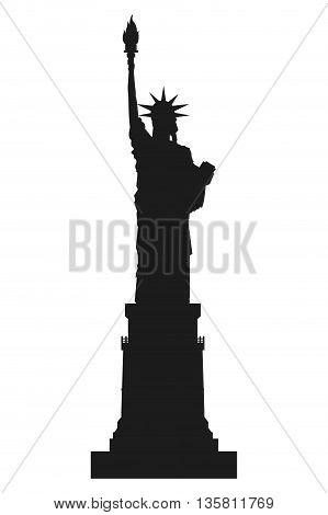 black silhouette statue of liberty icon vector illustration