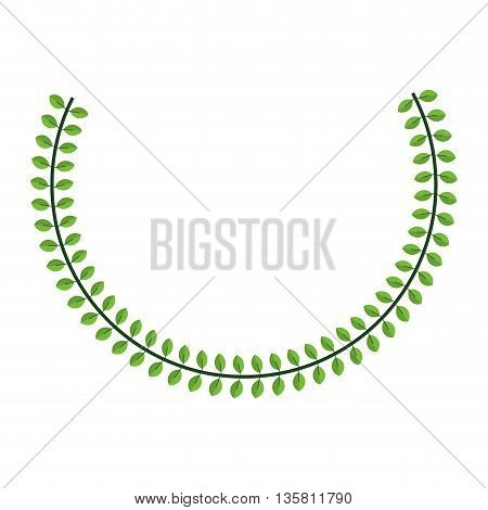 flat design green laurel wreath icon vector illustration