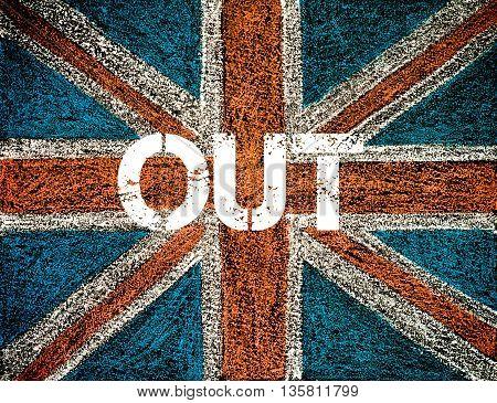 BREXIT concept over British Union Jack flag OUT message