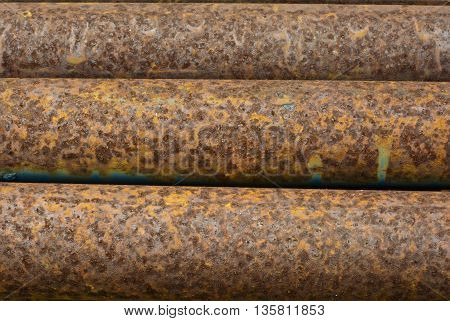 Close up to Texture of rusty on steel pipes