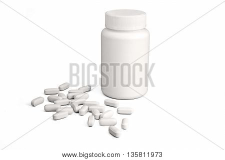 White plastic medicine bottle with pills on white background