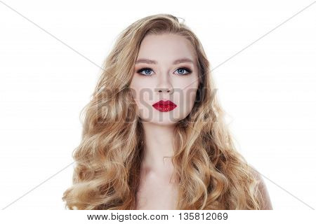 Fashion Woman Isolated on White Background. Blonde Hair and Makeup